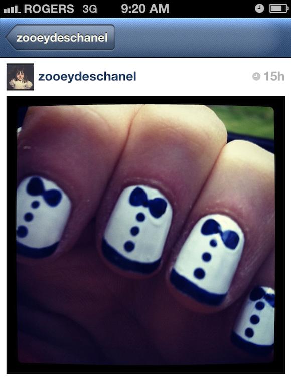 zooey deschanel tuxedo manicure