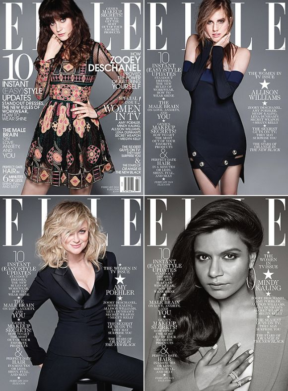 elle-magazine-women-in-tv-mindy-kaling-zooey-deschanel-amy-poehler-allison-williams
