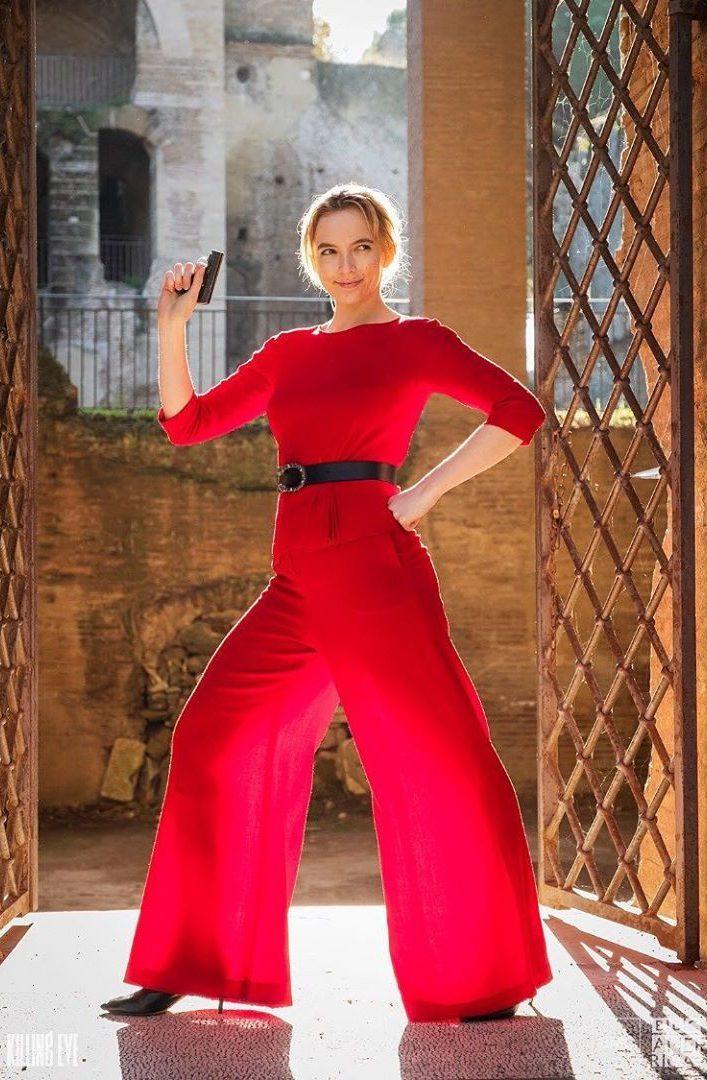 villanelle red suit